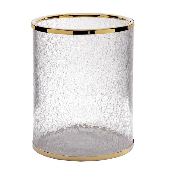 SURYA - Poubelle cristal craquelé et laiton doré