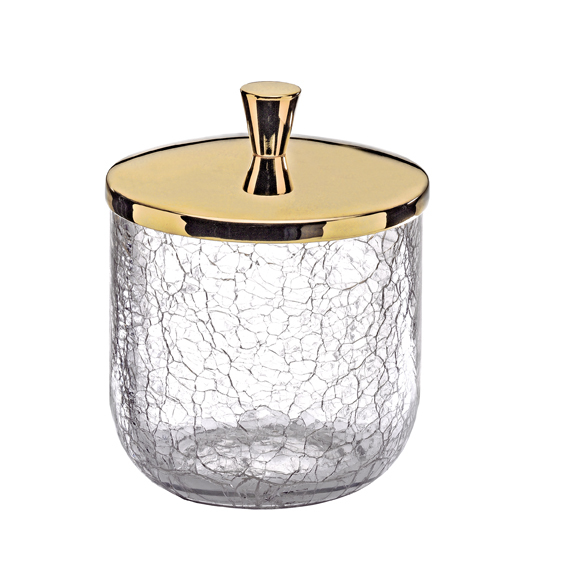 Accessoire Salle De Bain Dore #15: SURYA - Cotton Pot Cracked Crystal Gold Brass