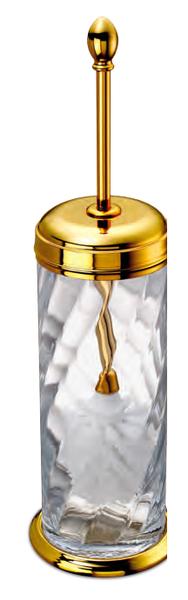 WINDISCH • Pot balai laiton doré et cristal avec couvercle ...