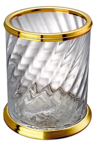 Poubelle laiton dor et cristal windisch livraison offerte for Accessoire salle de bain dore