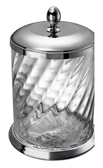 WINDISCH - Poubelle en laiton chromé et cristal avec couvercle