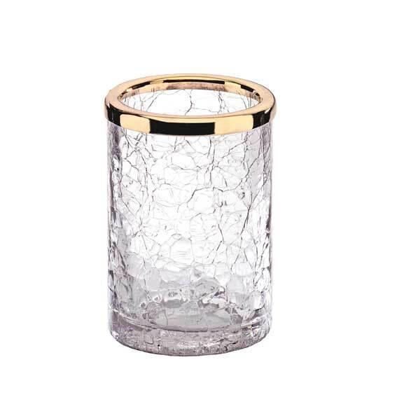 Verre à dents cristal et or Surya-Livraison offerte - Accessoires ...
