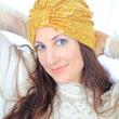 MADEMOISELLE MERMAID - Turban sequins miel et or